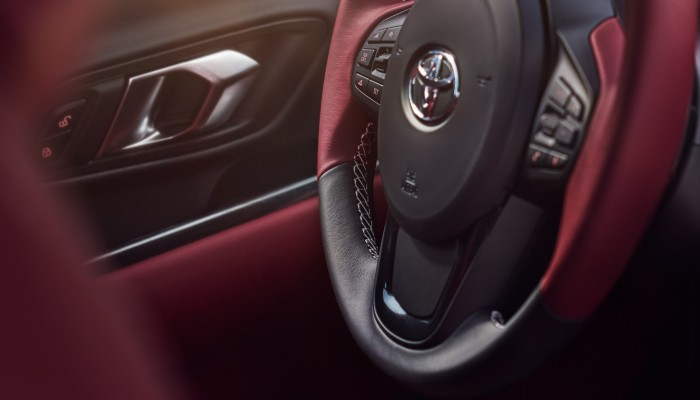 Steering wheel and driver side door of 2020 Toyota Supra