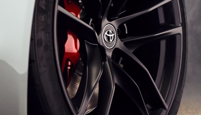 Isolated view of 2020 Toyota Supra wheel and spokes