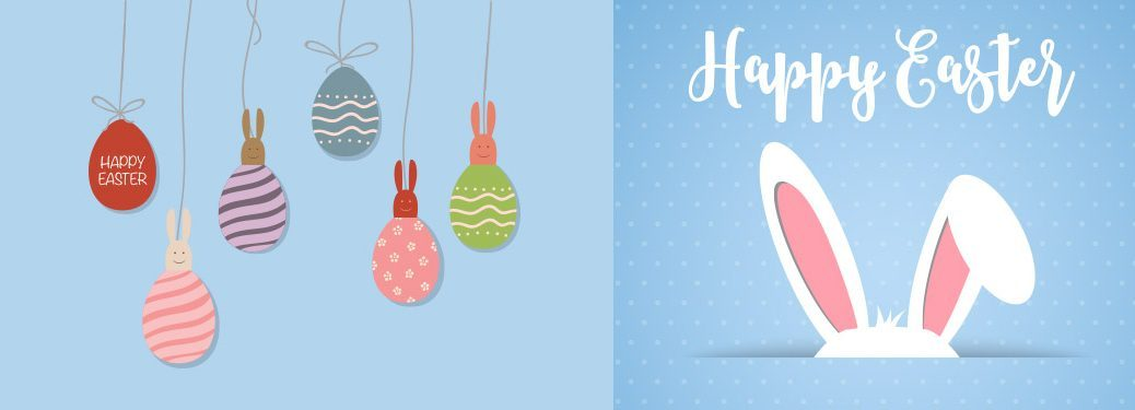 Easter Eggs and Bunny Ears in illustrated Easter photo