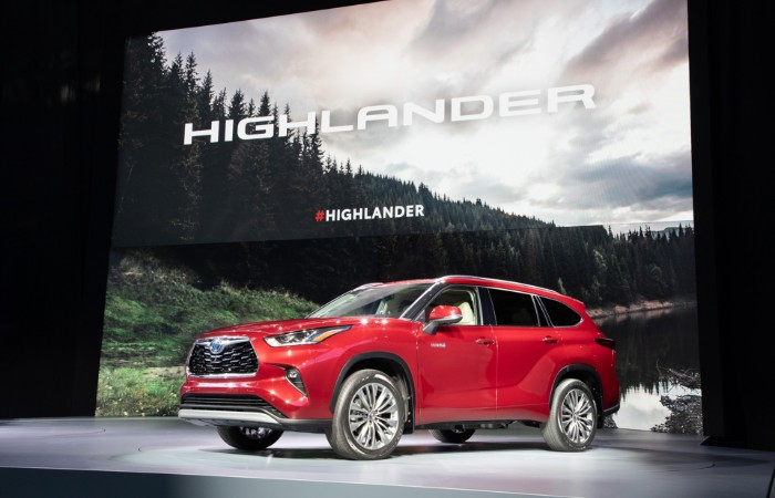 Red 2020 Toyota Highlander at New York International Auto Show