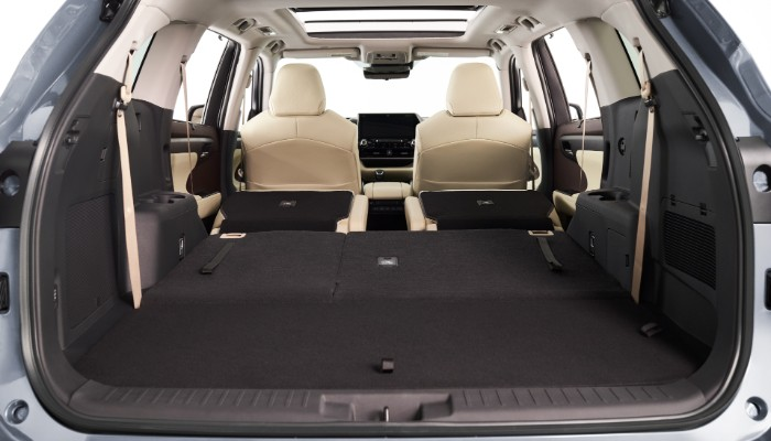 Rear cargo area of 2020 Toyota Highlander