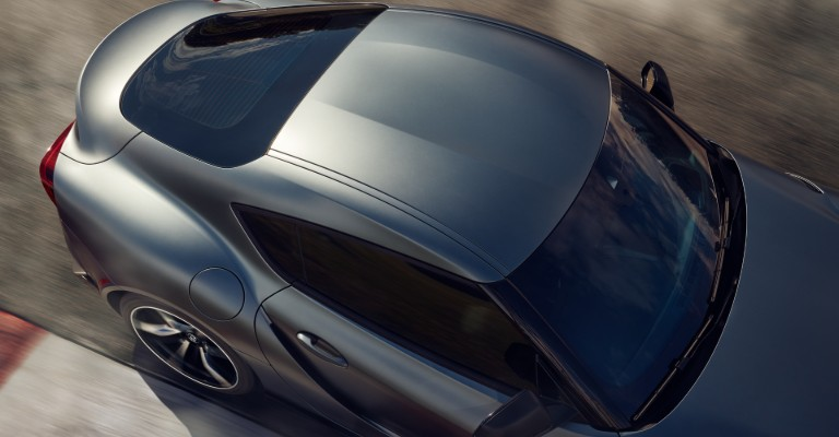 """Overhead view of 2020 Toyota Supra GR """"double-bubble"""" roof"""
