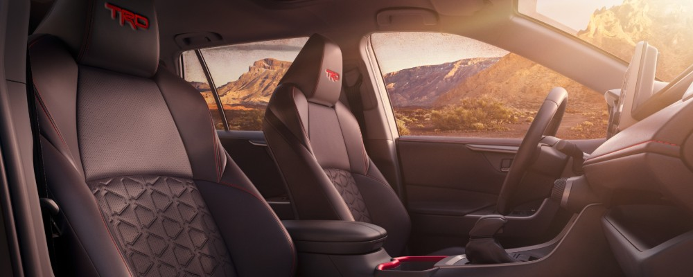 Front two seats and steering wheel of 2020 Toyota RAV4 TRD Off-Road