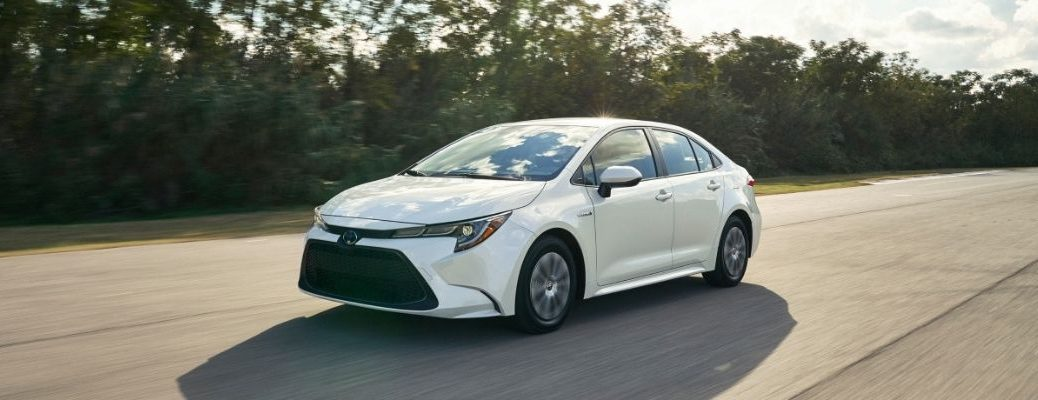 Exterior view of a white 2020 Toyota Corolla