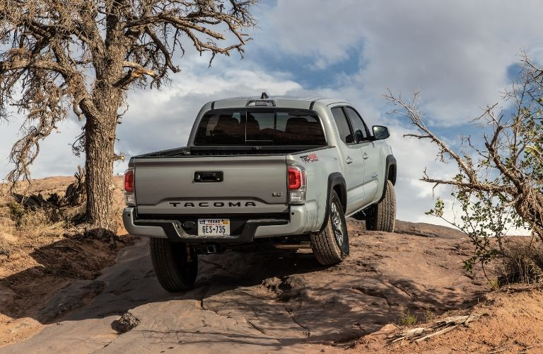 Exterior view of the rear of a silver 2020 Toyota Tacoma