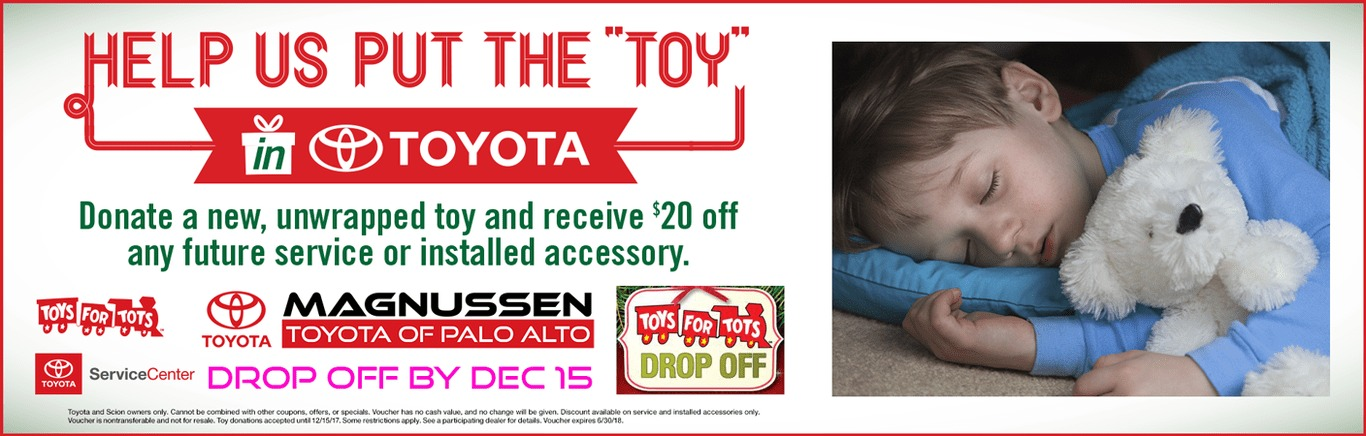 Toyota Palo Alto Toys for Tots Toy Drive Banner with Image of a child sleeping with a stuffed bear