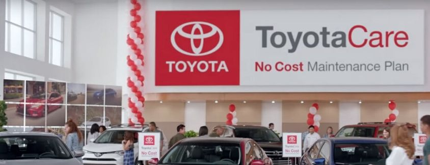 Image of the ToyotaCare banner inside a Toyota dealership