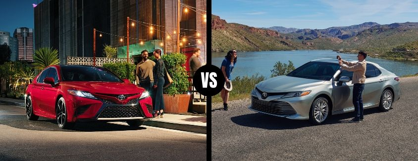 Comparison image of a red 2020 Toyota Camry and a silver 2020 Toyota Camry Hybrid