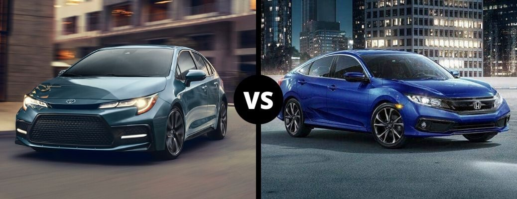 Comparison image of a grayish-blue 2020 Toyota Corolla and a blue 2020 Honda Civic
