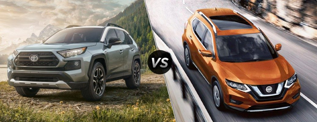Comparison image of a gray 2020 Toyota RAV4 and an orange 2020 Nissan Rogue