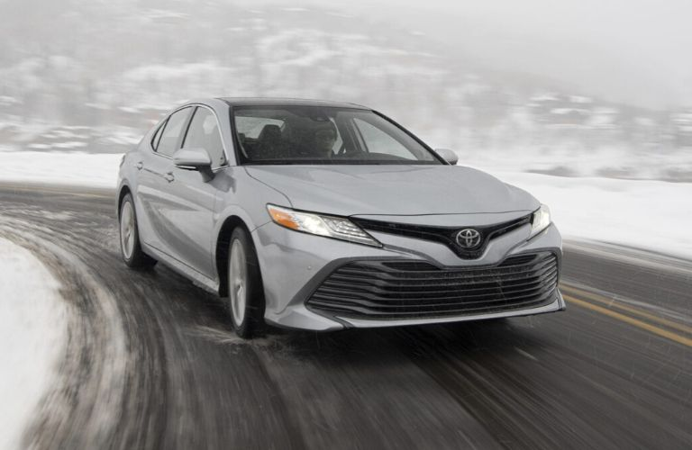 Exterior view of a silver 2020 Toyota Camry AWD