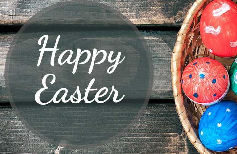 Happy Easter banner with a basket of Easter eggs