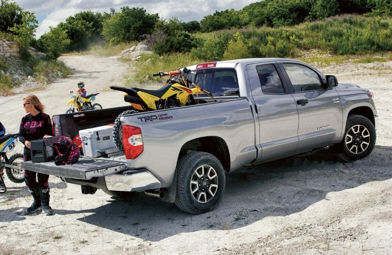 Exterior view of the rear of a silver 2020 Toyota Tundra
