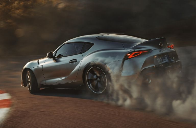 Exterior view of a silver 2020 Toyota Supra