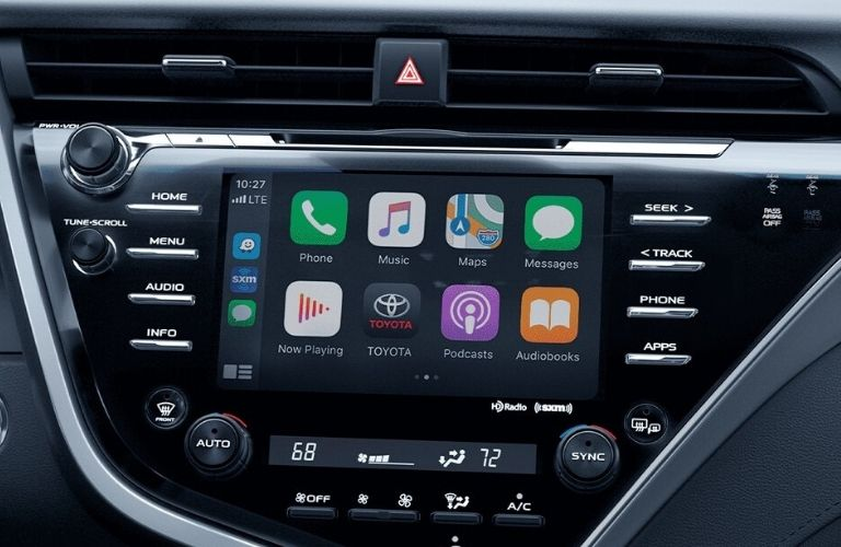 Interior view of the touchscreen display with Apple CarPlay inside a 2020 Toyota Camry AWD