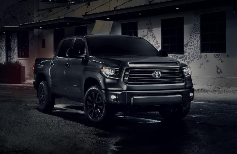Exterior view of a black 2021 Toyota Tundra Nightshade Edition