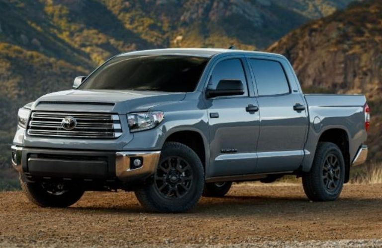 Exterior view of the front of a silver 2021 Toyota Tundra Trail Edition