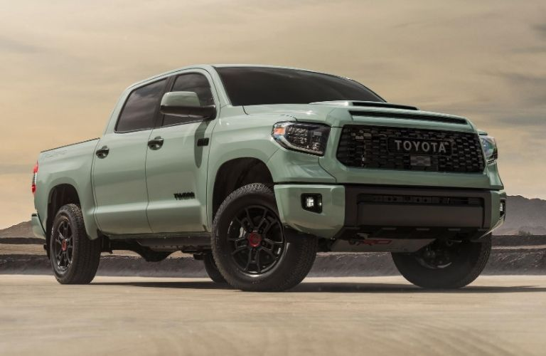 Exterior view of a gray 2021 Toyota Tundra TRD PRO
