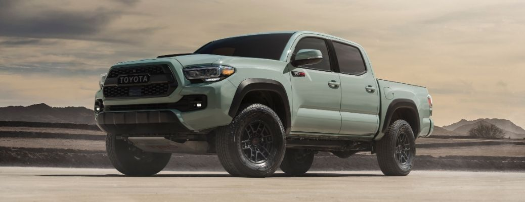 Exterior view of a gray 2021 Toyota Tacoma