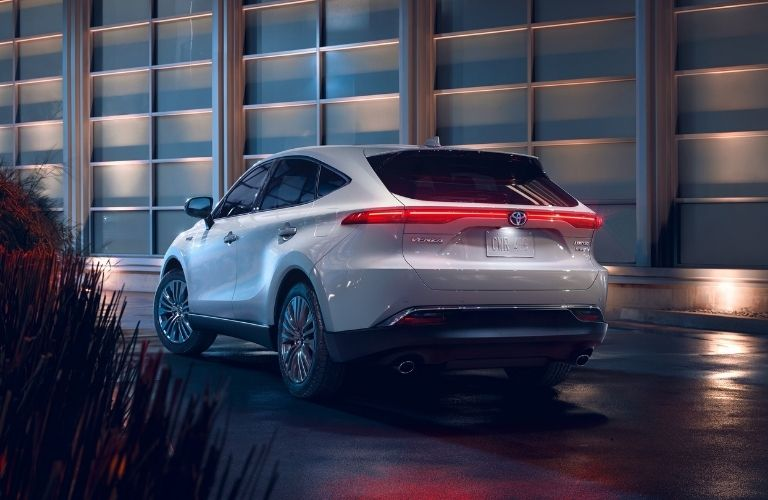 Exterior view of the rear of a white 2021 Toyota Venza