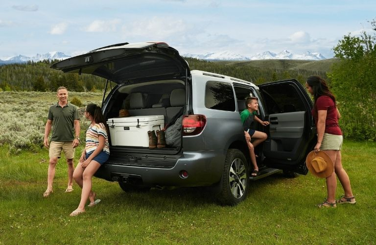 Exterior view of a gray 2021 Toyota Sequoia with its rear hatch open