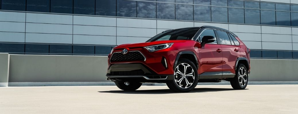 Exterior view of a red 2021 Toyota RAV4 Prime