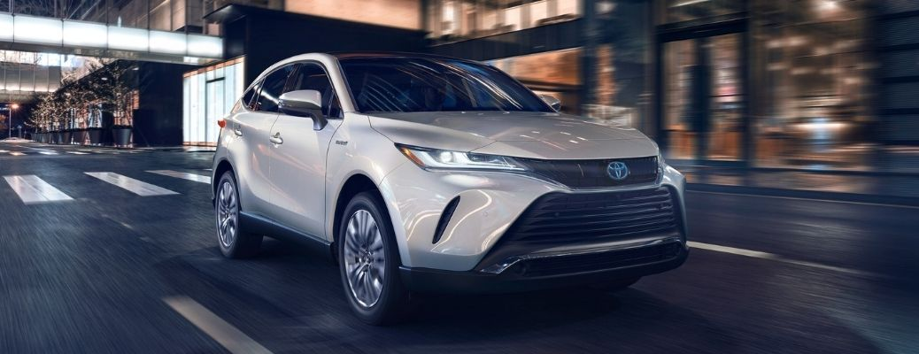 2021 Toyota Venza front quarter view at night
