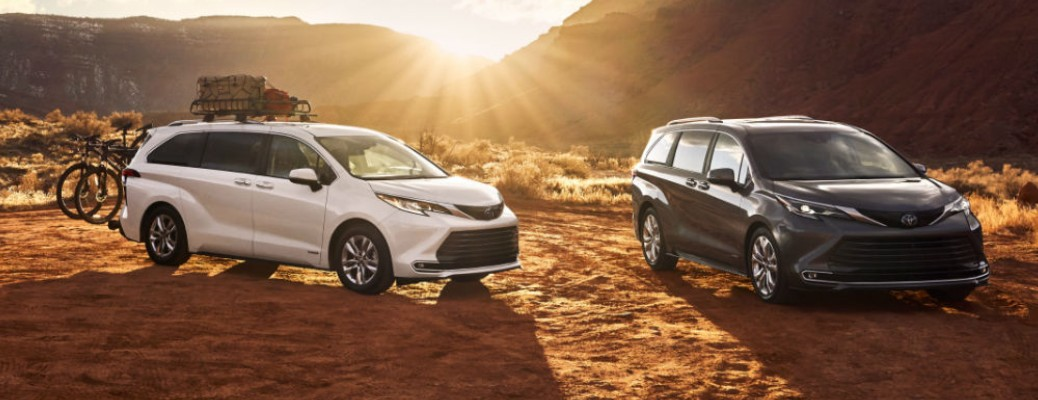 Two 2021 Toyota Sienna vehicles parked outside
