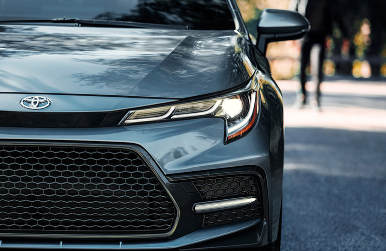 A close up of the headlights on the 2021 Toyota Corolla