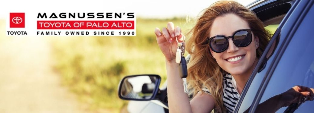 Woman with Keys in New Car and Toyota of Palo Alto Logo