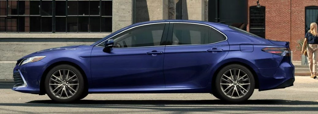 Driver angle of a blue 2022 Toyota Camry
