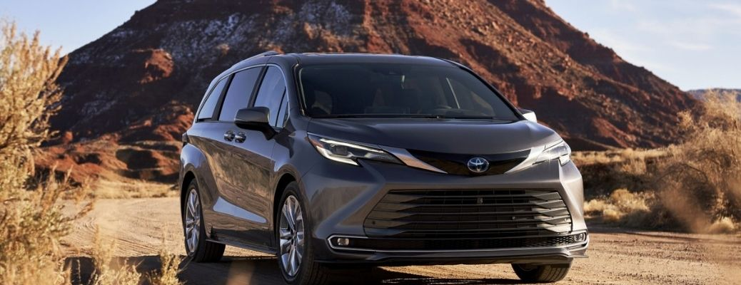 front view of the 2022 Toyota Sienna in a desert