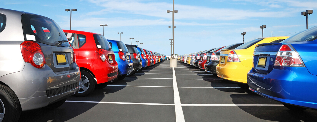 Line of cars in a parking lot