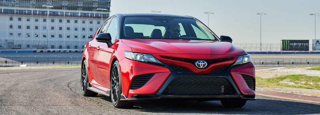 front view of a red 2020 Toyota Camry