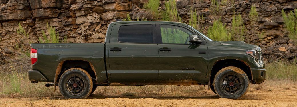 side view of a green 2020 Toyota Tundra