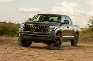 front view of a green 2020 Toyota Tundra