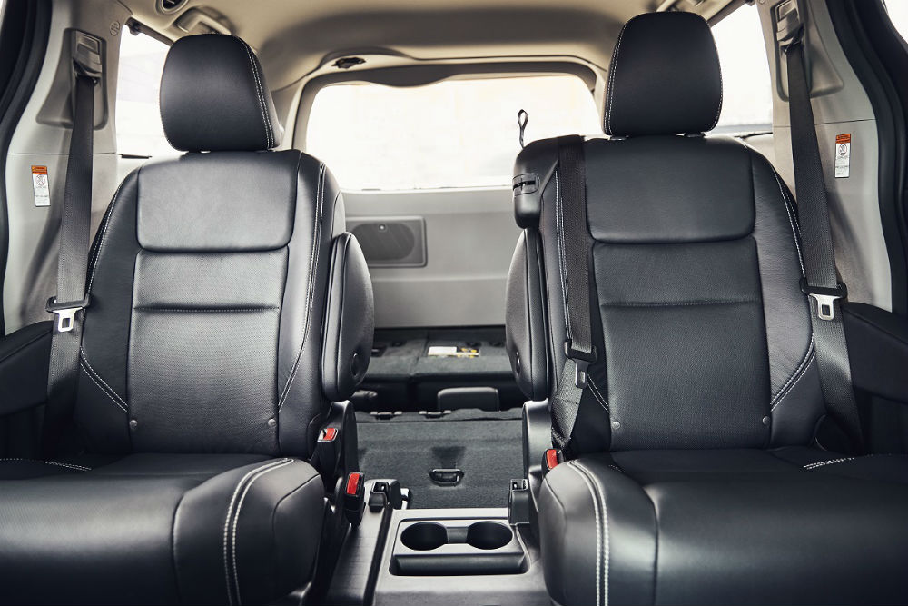 full interior of a 2020 Toyota Sienna with the rear seats folded down