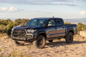 side view of a black 2020 Toyota Tacoma