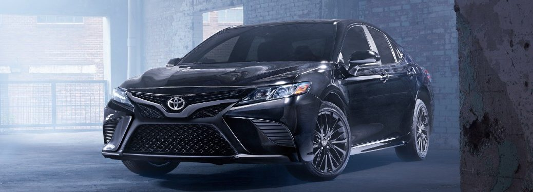 front view of a black 2020 Toyota Camry