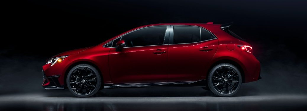 side view of a red 2021 Toyota Corolla Hatch Special Edition