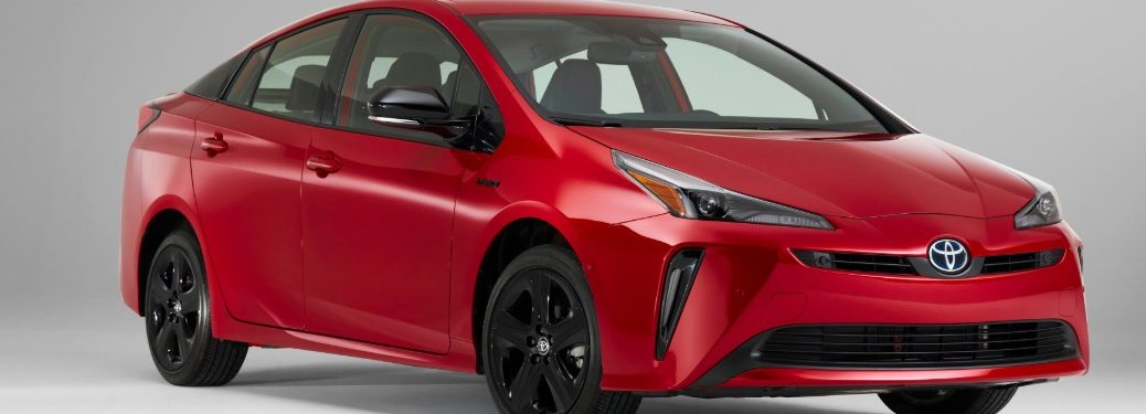 front view of a red 2021 Toyota Prius