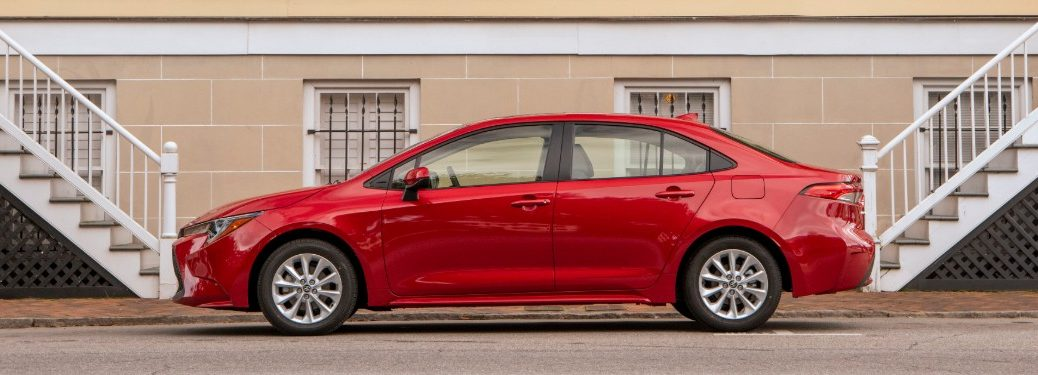 side view of a red 2021 Toyota Corolla