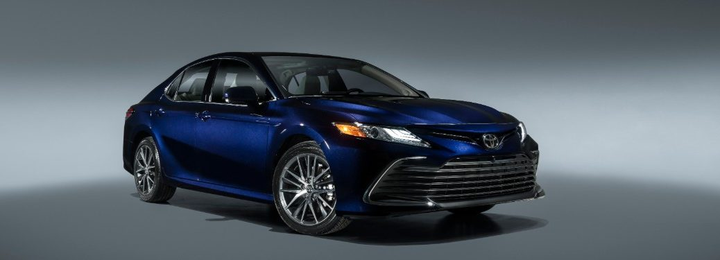 side view of a blue 2021 Toyota Camry
