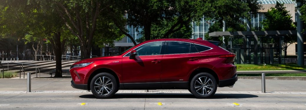 side view of a red 2021 Toyota Venza