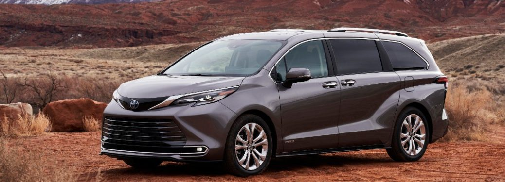 side view of a gray 2021 Toyota Sienna