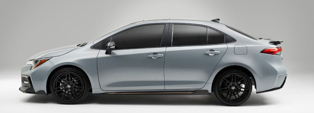 side view of a silver 2021 Toyota Corolla