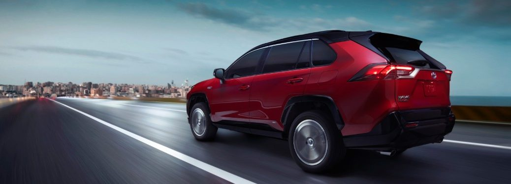 rear view of a red 2021 Toyota RAV4