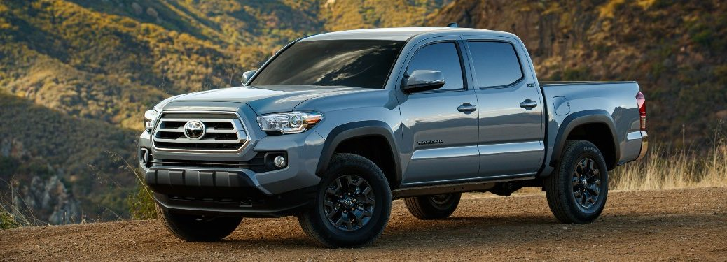 side view of a blue 2021 Toyota Tacoma