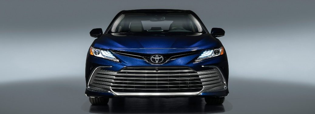 front view of a blue 2021 Toyota Camry