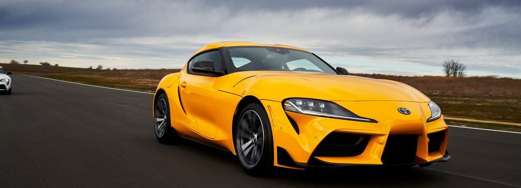 front view of a yellow 2021 Toyota Supra